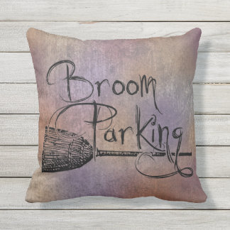 Broom Parking, Halloween Witch Sign, Fall Autumn Throw Pillow
