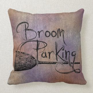 Broom Parking, Halloween Witch Sign, Fall Autumn Throw Pillow