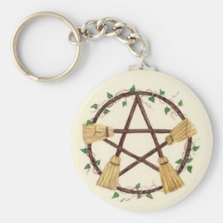 Broom Pentagam with Ivy Basic Round Button Keychain