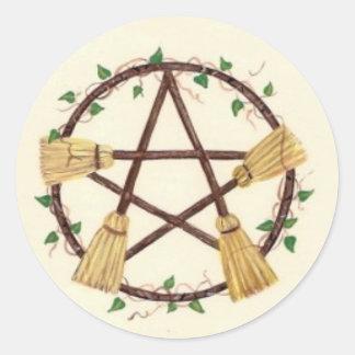 Broom Pentagam with Ivy Classic Round Sticker