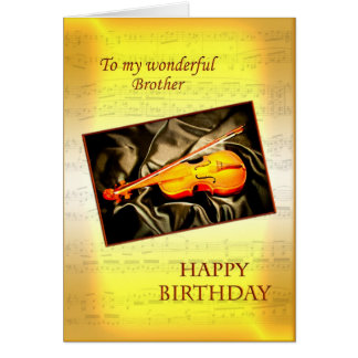 Brother, a musical birthday card with a violin