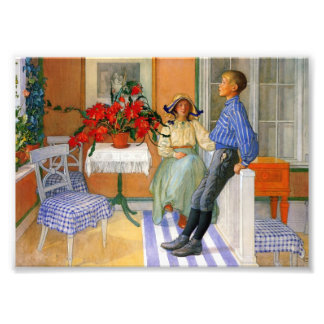 Brother and Sister in the Sunroom 1911 Photographic Print