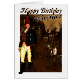 Brother Birthday Card - 1822 Hussar Officer And Fo