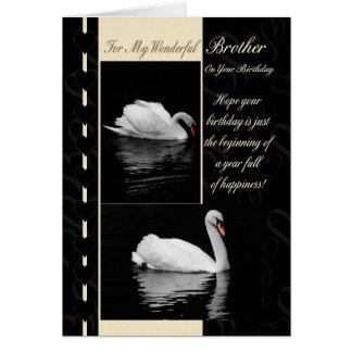 Brother Birthday Card Swans