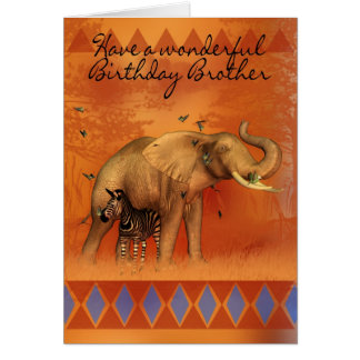 Brother Birthday Card With Elephant Butterfly And