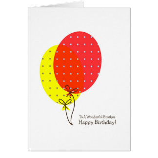 Brother Birthday Cards, Colorful Balloons Gift Box Greeting Card
