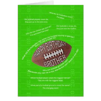 Brother birthday, really bad football jokes card