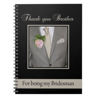 Brother Bridesman thank you Note Books