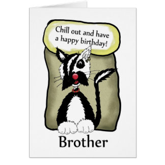 Brother Chill Out Birthday Card - Emo Cat Birthday