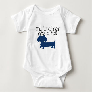 Brother (Dachshund) has a tail (blue) Tshirts