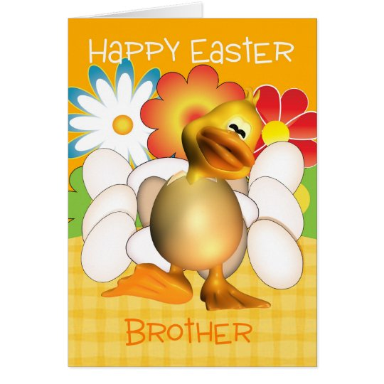 Brother Easter Card With Chick Eggs And Bright Flo