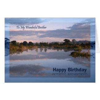 Brother, Lake at dawn Birthday card
