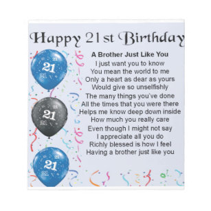 Brother Poem 21st Birthday Notepad