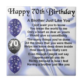 Brother Poem 70th Birthday Tile