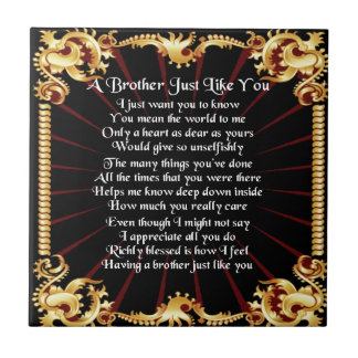 Brother Poem - Black design Tile