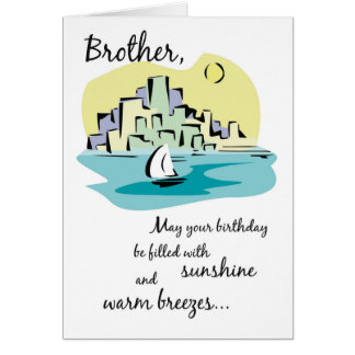 Brother Sailboat City Birthday Card