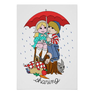 Brother & Sister Sharing Umbrella in Rain Poster