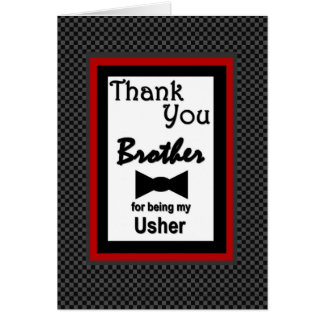 Brother USHER Wedding Thank You with Bow Tie Card