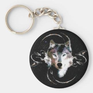 Brother Wolf Basic Round Button Keychain