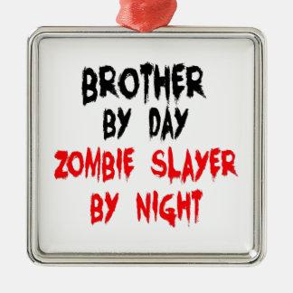 Brother Zombie Slayer Silver-Colored Square Ornament