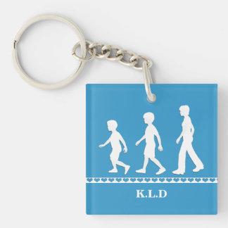 Brothers and Sister: Paper Cut-Out Style Siblings Single-Sided Square Acrylic Keychain