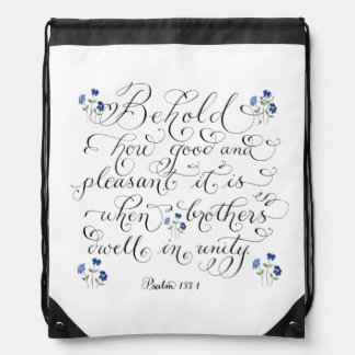 Brothers in unity inspirational typography verse drawstring bag