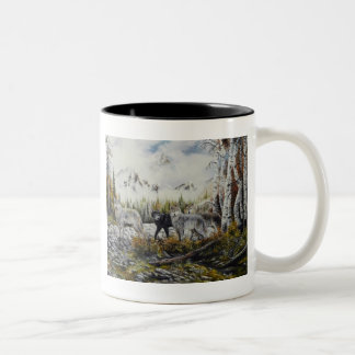 Brothers~Oil Painting by David Paul Two-Tone Coffee Mug