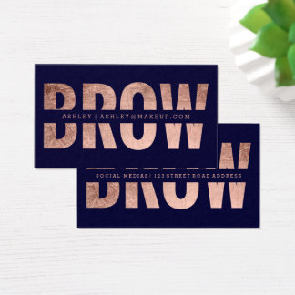 Brow cut out faux rose gold typography navy blue business card