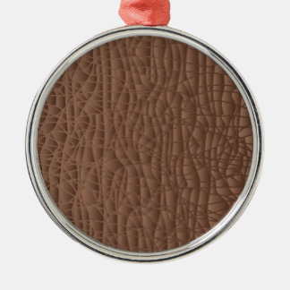 Brown Abstract Background Silver-Colored Round Ornament