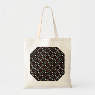 Brown Abstract Flowers Art Pattern Canvas Bags