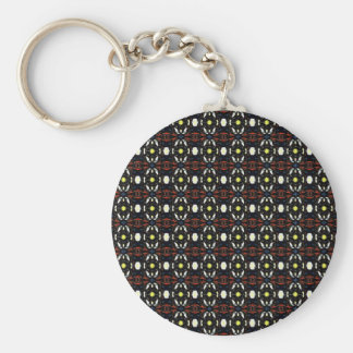 Brown Abstract Flowers Art Pattern Keychain
