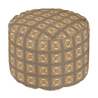 Brown Abstract Print Pouf
