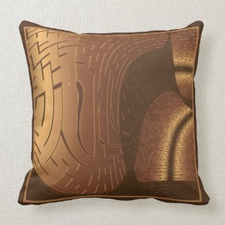 Brown Abstract Throw Pillow throwpillow