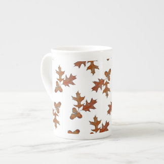 Brown Acorns Oak Leaves Botanical Bone China Mug