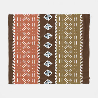 "Brown African Pattern Fleece Blanket, 50""x60"""