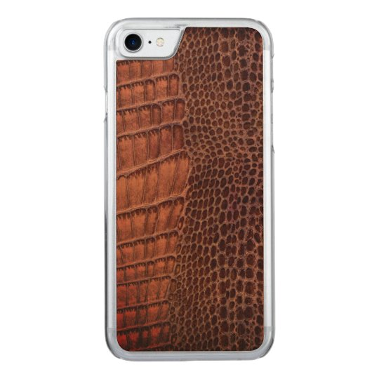 Brown Alligator Classic Reptile Leather (Faux) Carved iPhone 7 Case