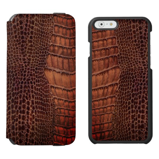 Brown Alligator Classic Reptile Leather (Faux) Incipio Watson™ iPhone 6 Wallet Case
