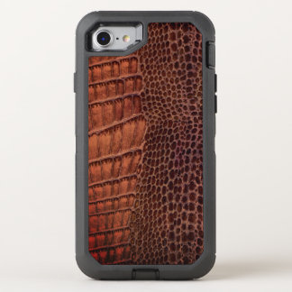 Brown Alligator Classic Reptile Leather (Faux) OtterBox Defender iPhone 8/7 Case