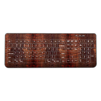 Brown Alligator Classic Reptile Leather (Faux) Wireless Keyboard