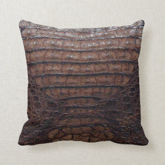 Brown Alligator Print Pillow #1