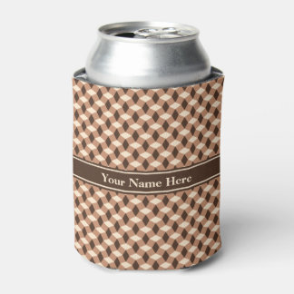 Brown and Almond Wavy Pattern Can Cooler