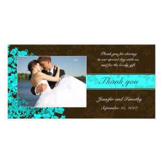 Brown and aqua floral thank you wedding photocard card