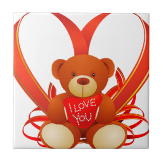 Brown and Beige Cute Teddy Bear Holding Red Heart Ceramic Tiles