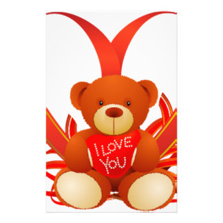 Brown and Beige Cute Teddy Bear Holding Red Heart Customized Stationery