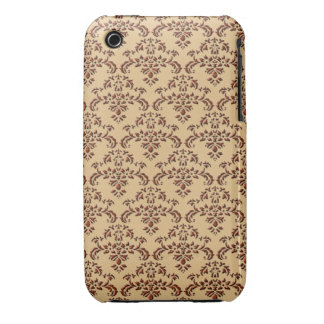 Brown and Beige Damask Pattern Case-Mate iPhone 3 Case