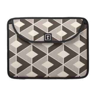 Brown and beige geometric diamonds MacBook pro sleeves