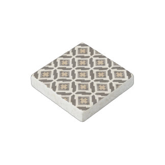 Brown and beige geometric mosaic stone magnet
