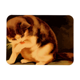 Brown and beige kitten painting rectangular photo magnet