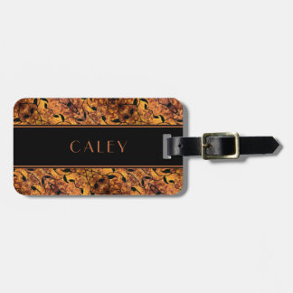 Brown And Black Autumn Leaves Pattern Custom Name Luggage Tag