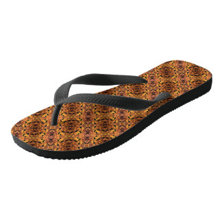 Brown And Black Autumn Leaves Pattern Flip Flops